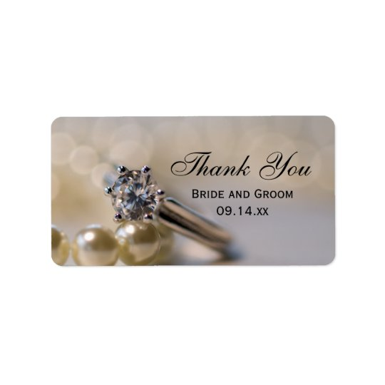 Engagement Ring and Pearls Thank You Favour Tag Address Label