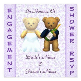 Engagement shower lilac Teddy Bears invitation
