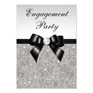 Engagement Silver Sequins Black Bow Card