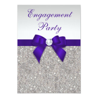 Engagement Silver Sequins Deep Royal Purple Bow 13 Cm X 18 Cm Invitation Card
