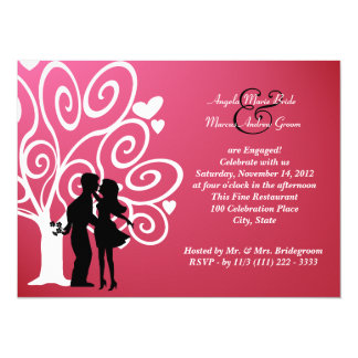 Engagement/ Wedding Silhouette 5.5x7.5 Paper Invitation Card