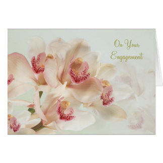 Engagement - White Orchids in full bloom Greeting Card