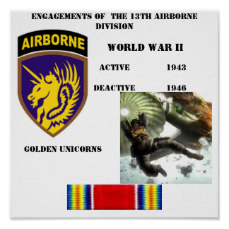 Engagements of  the 13th Airborne Division Poster