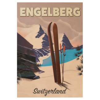 Engelberg Switzerland Ski travel poster
