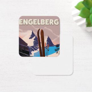 Engelberg Switzerland Ski travel poster Square Business Card