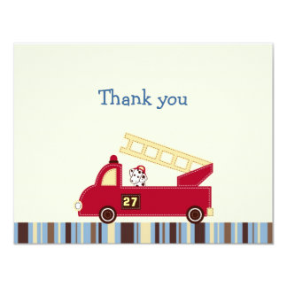 Engine 27 Fire Truck Puppy Thank You Note Cards 11 Cm X 14 Cm Invitation Card