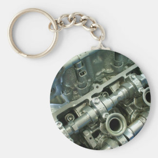 Engine Motor Guts Basic Round Button Key Ring