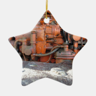 Engine of old italian crawler tractor christmas ornament