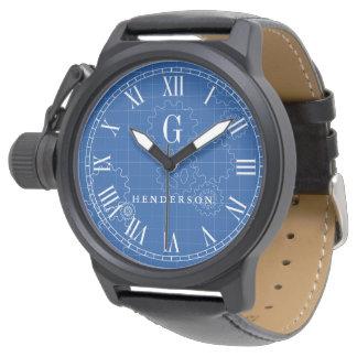 Engineer Blueprint Style Custom Monogram   Name Watch