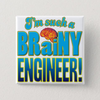 Engineer Brainy Brain 15 Cm Square Badge