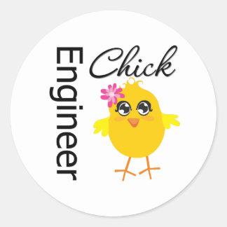 Engineer Chick Round Stickers