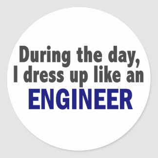 Engineer During The Day Round Sticker