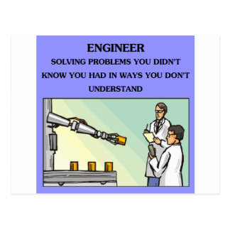 engineer engineering joke postcard
