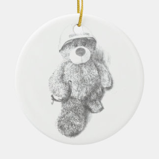 Engineer Teddy Bear Sketch Round Ceramic Decoration