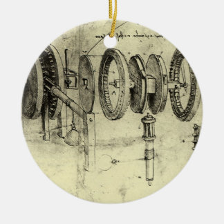 Engineering Sketch of a Wheel by Leonardo da Vinci Christmas Ornament
