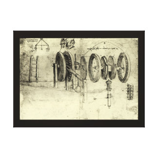 Engineering Sketch of a Wheel by Leonardo da Vinci Gallery Wrap Canvas
