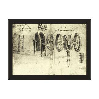 Engineering Sketch of a Wheel by Leonardo da Vinci Gallery Wrap Canvas