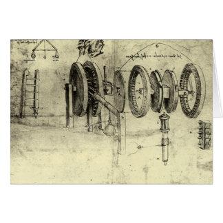 Engineering Sketch of a Wheel by Leonardo da Vinci Greeting Card