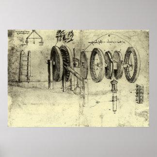 Engineering Sketch of a Wheel by Leonardo da Vinci Poster