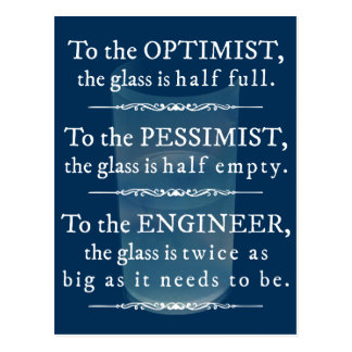 Engineers and the glass half full - funny postcard