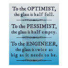 Engineers and the glass half full - funny poster