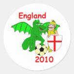 England 2010 classic round sticker
