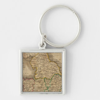 England and Wales 4 Silver-Colored Square Key Ring