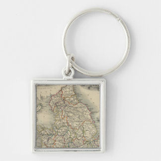 England and Wales Silver-Colored Square Key Ring