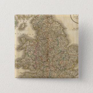 England Atlas Map 2 15 Cm Square Badge