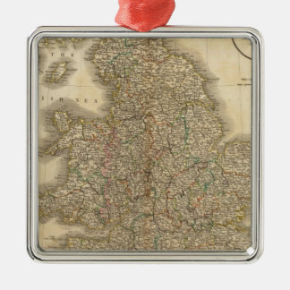 England Atlas Map 2 Silver-Colored Square Decoration
