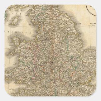 England Atlas Map 2 Square Sticker