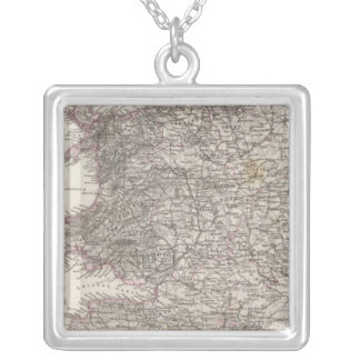 England Atlas Map Silver Plated Necklace