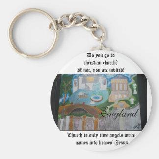 England, be christian-keychain basic round button key ring