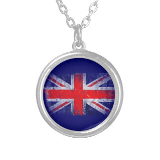 England blue and red flag silver plated necklace