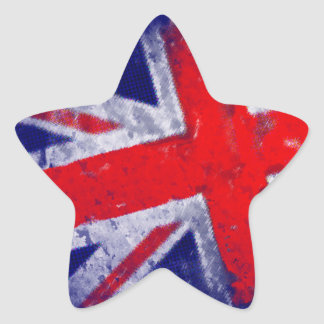 England blue and red flag star sticker