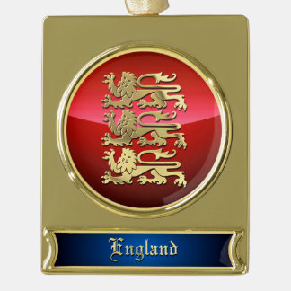 England CoA Gold Plated Banner Ornament