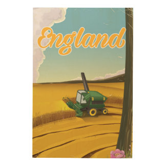 England combine harvester travel poster wood canvas