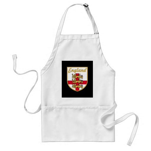 England, English, 3 Lions Badge or Crest,Black Bac Aprons