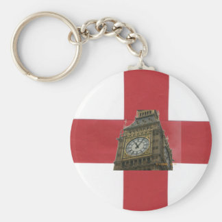 England Flag and Big Ben Basic Round Button Key Ring