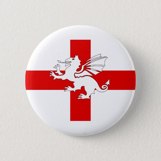 England Flag and Dragon 6 Cm Round Badge