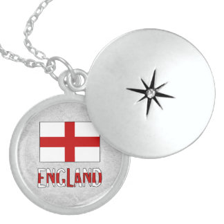 England Flag and Name Round Locket Necklace