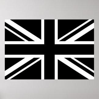 England Flag Black White Poster
