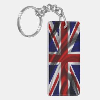 England Flag Fabric Double-Sided Rectangular Acrylic Key Ring