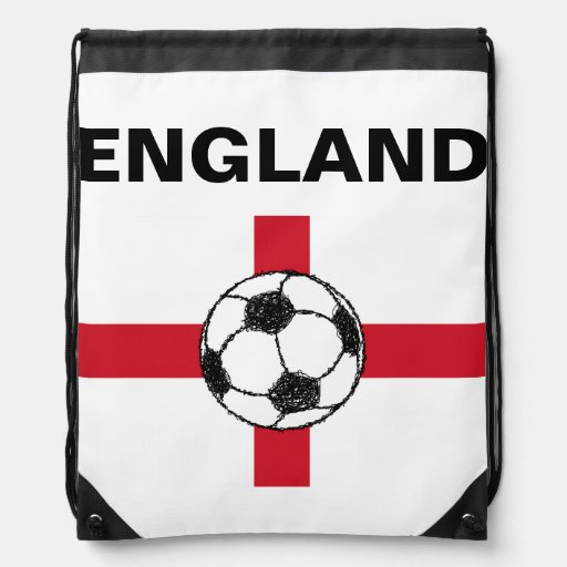 England Flag | Football Ball Drawstring Backpacks