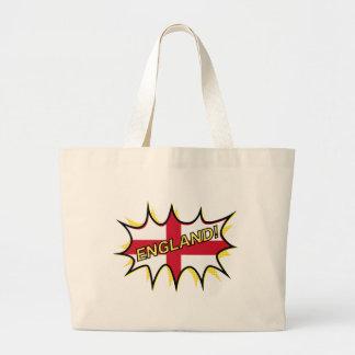 England Flag Kapow Comic Style Star Large Tote Bag