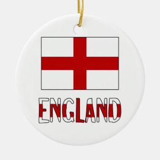 England Flag & Name Christmas Ornament