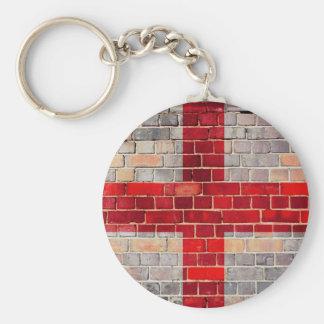 England flag on a brick wall key ring