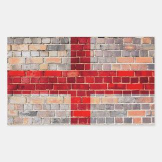 England flag on a brick wall rectangular sticker