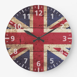 England Flag on Old Wood Grain Large Clock