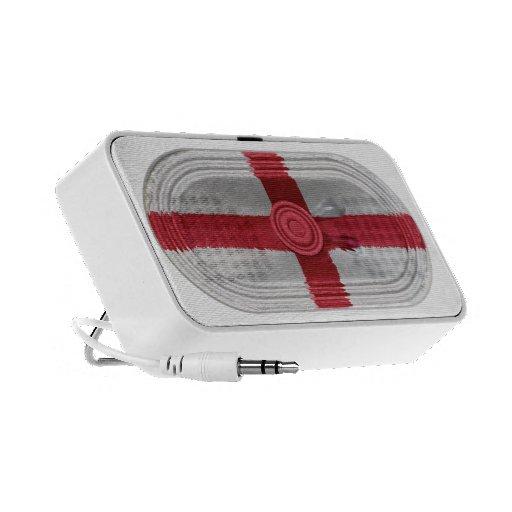 England Flag St Georges Cross Red Cross On White Travelling Speaker